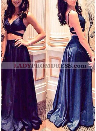 Navy Blue Prom Dresses Straps A-Line/Princess Satin Two Piece