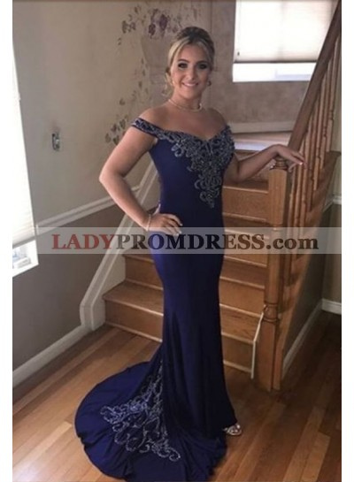 Column/Sheath Purple Beaded Off The Shoulder Prom Dresses
