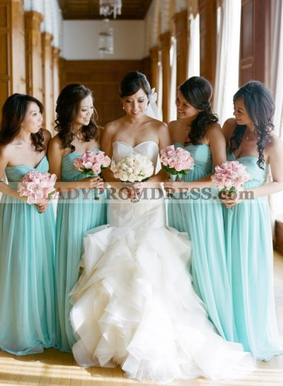2019 Cheap A Line Mint Chiffon Sweetheart Long Bridesmaid Dresses / Gowns
