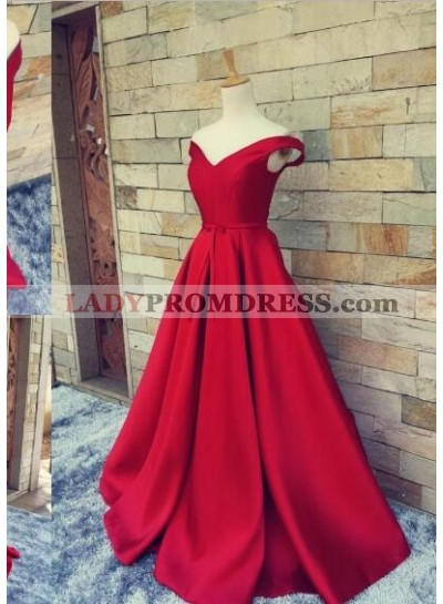2021 Off the Shoulder Sweetheart A-line Satin Prom Dresses