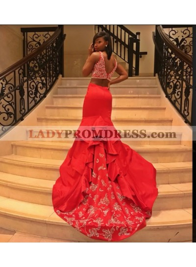 2019 Gorgeous Red Two Piece Mermaid/Trumpet Satin Prom Dresses