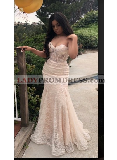 2020 Ivory Sweetheart Mermaid Prom Dresses