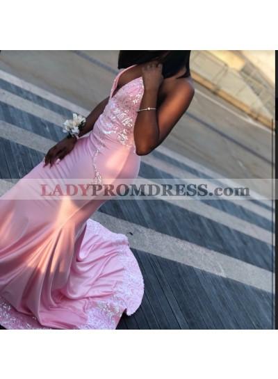 2020 Unique Pink Halter Lace Sequin Satin Prom Dresses