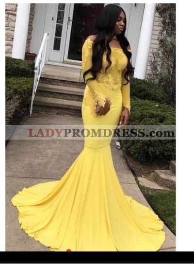 2020 Off the shoulder Long Sleeve Yellow Mermaid Prom Dresses
