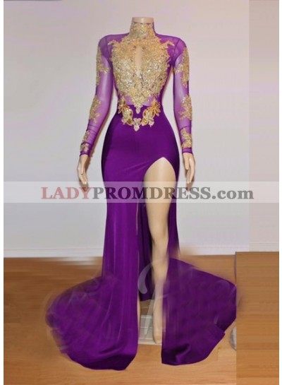 2020 Long Sleeve High Neck Beaded Split Prom Dresses