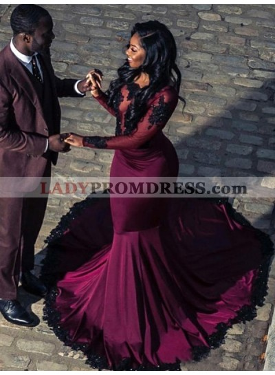 2021 Long Sleeves Burgundy Applique Satin Mermaid Prom Dresses