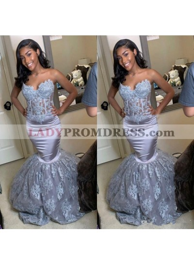 2020 Sweetheart Lace Mermaid Prom Dresses