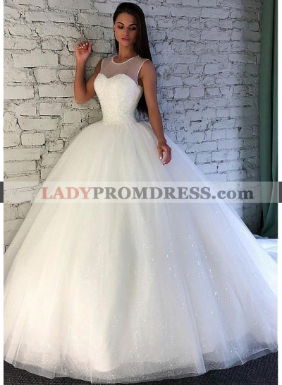 2020 Ball Gown Beaded Wedding Dresses