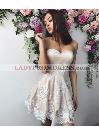 A-Line Sweetheart Appliques Light Champagne Prom Homecoming Dress 2020