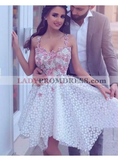 A-Line Straps Asymmetrical Ivory Lace Homecoming Dress 2021 with Appliques