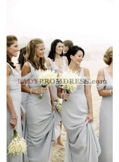 2021 Cheap A Line Chiffon Silver Floor Length Ruffles Bridesmaid Dresses / Gowns