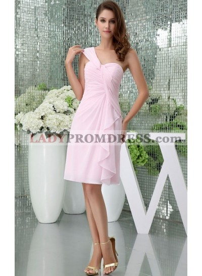 Pink Sophisticated Knee Length Ruched Sleeveless One Shoulder Bridesmaid Dresses / Gowns