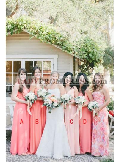 2021 Cheap A Line Chiffon Water Melon Long Bridesmaid Dresses / Gowns