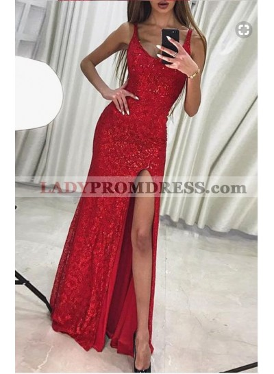 2020 Charming Column/Sheath Red Side Slit Sequence Prom Dresses