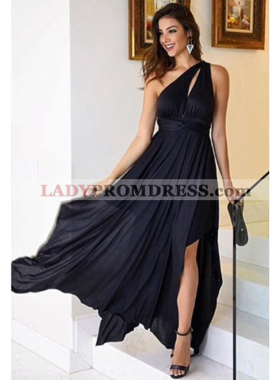 Dark Navy One Shoulder Side Slit Chiffon Prom Dresses Cheap