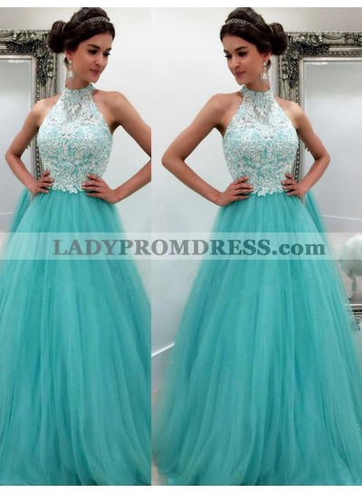LadyPromDress 2019 Blue High Neck Appliques Floor-Length/Long A-Line/Princess Tulle Prom Dresses