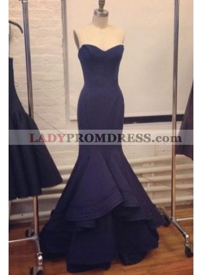 LadyPromDress 2018 Blue Elegant Sweetheart Mermaid/Trumpet Satin Prom Dresses