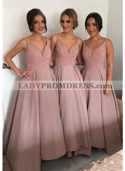 Satin Sweep Train A-Line/Princess Sleeveless V-Neck Bridesmaid Dresses / Gowns With Sequins