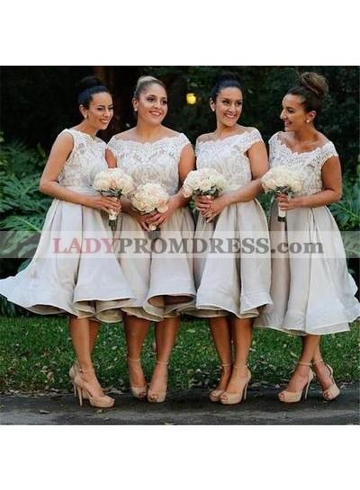 2020 Champagne Off The Shoulder Lace Short Bridesmaid Dresses