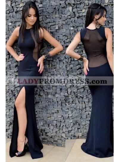 LadyPromDress 2019 Blue Illusion Back Sleeveless Side-Slit Prom Dresses