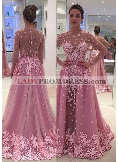 Sheer Sleeves Lace Appliques A-Line/Princess Tulle Prom Dresses