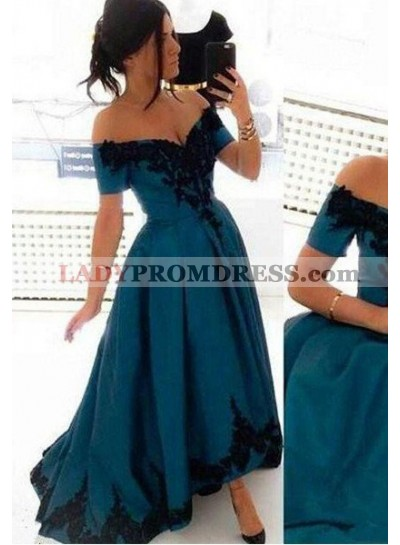 Elegant Off-the-Shoulder Appliques High-Low LadyPromDress 2018 Blue Prom Dresses