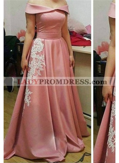 Off-the-Shoulder Appliques A-Line/Princess 2019 Glamorous Pink Prom Dresses