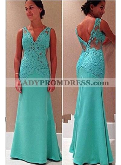 V-Neck Open-Back Mermaid/Trumpet Sleeveless Lace Prom Dresses