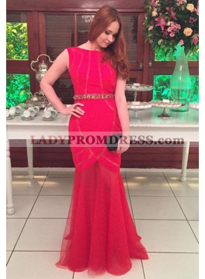 2019 Gorgeous Red Beading Scoop Neck Mermaid/Trumpet Prom Dresses