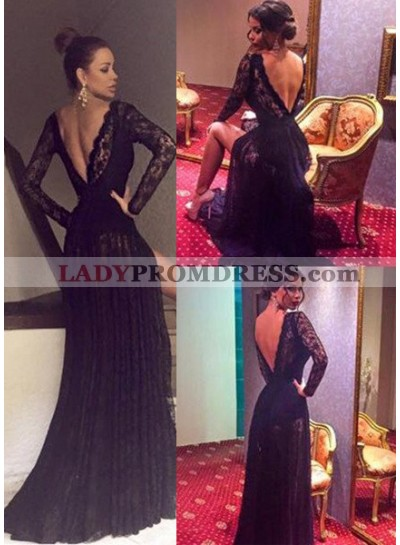 2019 Junoesque Black Sexy Sweep Train A-Line/Princess Lace Prom Dresses