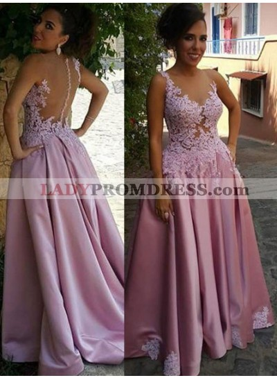 Delicate Appliques Sleeveless A-Line/Princess Satin 2019 Glamorous Pink Prom Dresses