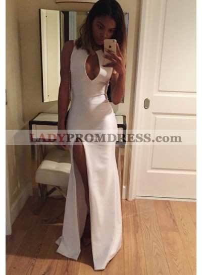 2019 Unique White High-Slit Floor-Length/Long Column/Sheath Stretch Satin Prom Dresses
