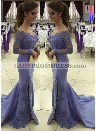 2020 Sexy Mermaid/Trumpet Satin Long Sleeves Lavender Prom Dresses