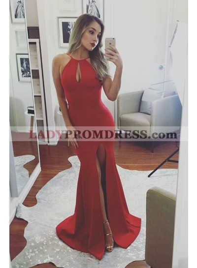2020 Sexy Mermaid/Trumpet Red Satin Side Slit Prom Dresses