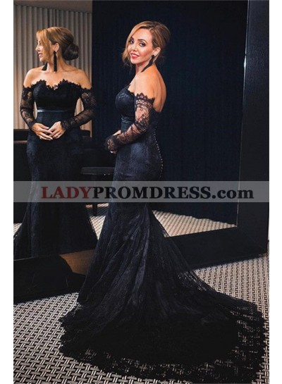 Alluring Mermaid/Trumpet Long Sleeves Lace Off The Shoulder Prom Dresses