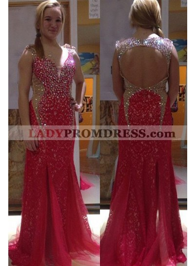 2019 Gorgeous Red V-Neck Crystal Backless Mermaid/Trumpet Tulle Prom Dresses