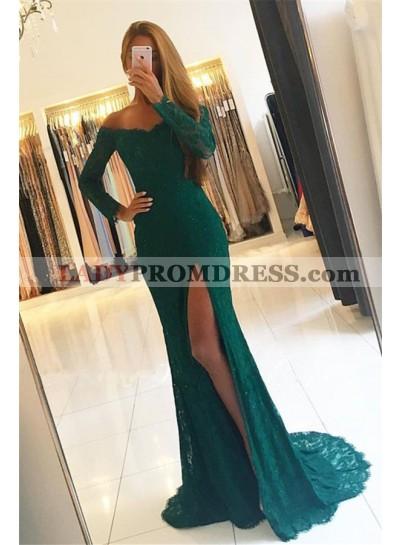 2021 Siren Column/Sheath Long Sleeves Lace Side Slit Prom Dresses