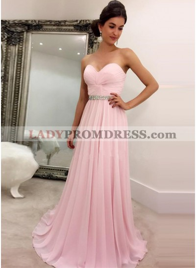 2021 Cheap Princess/A-Line Chiffon Sweetheart Pink Prom Dresses