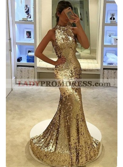 2020 Siren Mermaid/Trumpet Gold Sequence Prom Dresses
