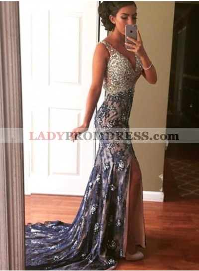 2021 Sexy Mermaid/Trumpet Sweetheart Lace Side Slit Prom Dresses