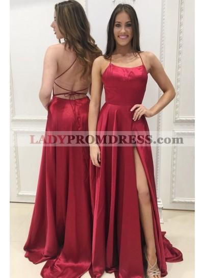 Alluring Princess/A-Line Side Slit Satin Backless Burgundy Prom Dresses