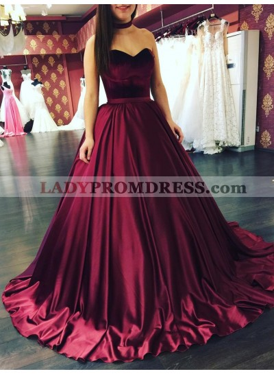 2019 Elegant Burgundy Satin Sweetheart Ball Gown Prom Dresses