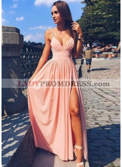 2021 Siren Princess/A-Line Pink Sweetheart Side Slit Prom Dresses
