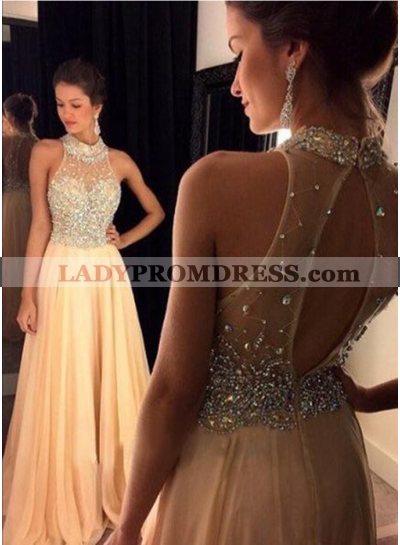 Beading Champagne High Neck Chiffon Prom Dresses