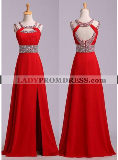2019 Gorgeous Red Beading Open Back Chiffon Prom Dresses