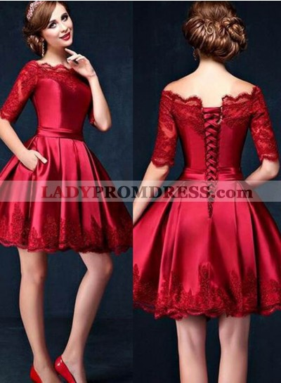 2019 Gorgeous Red Scalloped Lace A-Line/Princess Satin Short Prom Dresses