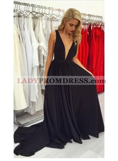2020 Siren Princess/A-Line Deep V Long Train Black Prom Dresses