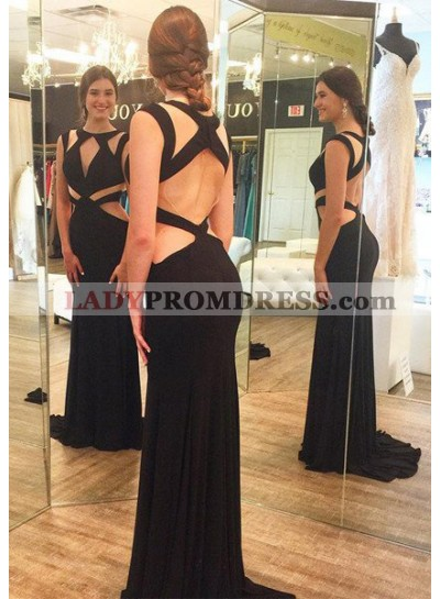 2018 Junoesque Black Sexy Cut Out Bandage Column/Sheath Prom Dresses