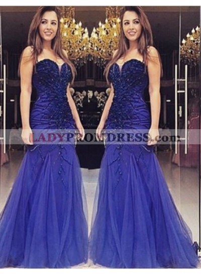 LadyPromDress 2019 Blue Delicate Sweetheart Beading Mermaid/Trumpet Tulle Prom Dresses