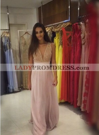 Beading Deep-V-Neck A-Line/Princess Chiffon 2019 Glamorous Pink Prom Dresses